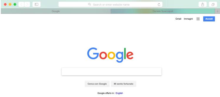 Browser Google homepage
